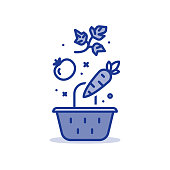 Grocery store basket with falling vegetables, fresh healthy food, vector line icon