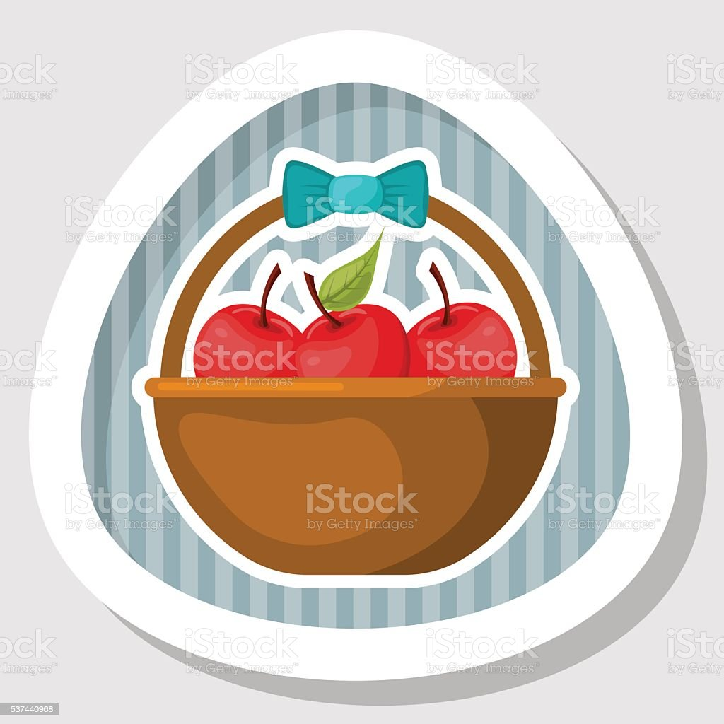 basket with fruits colorful icon stock vector art more images of