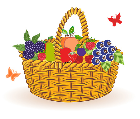 Basket with fruits .