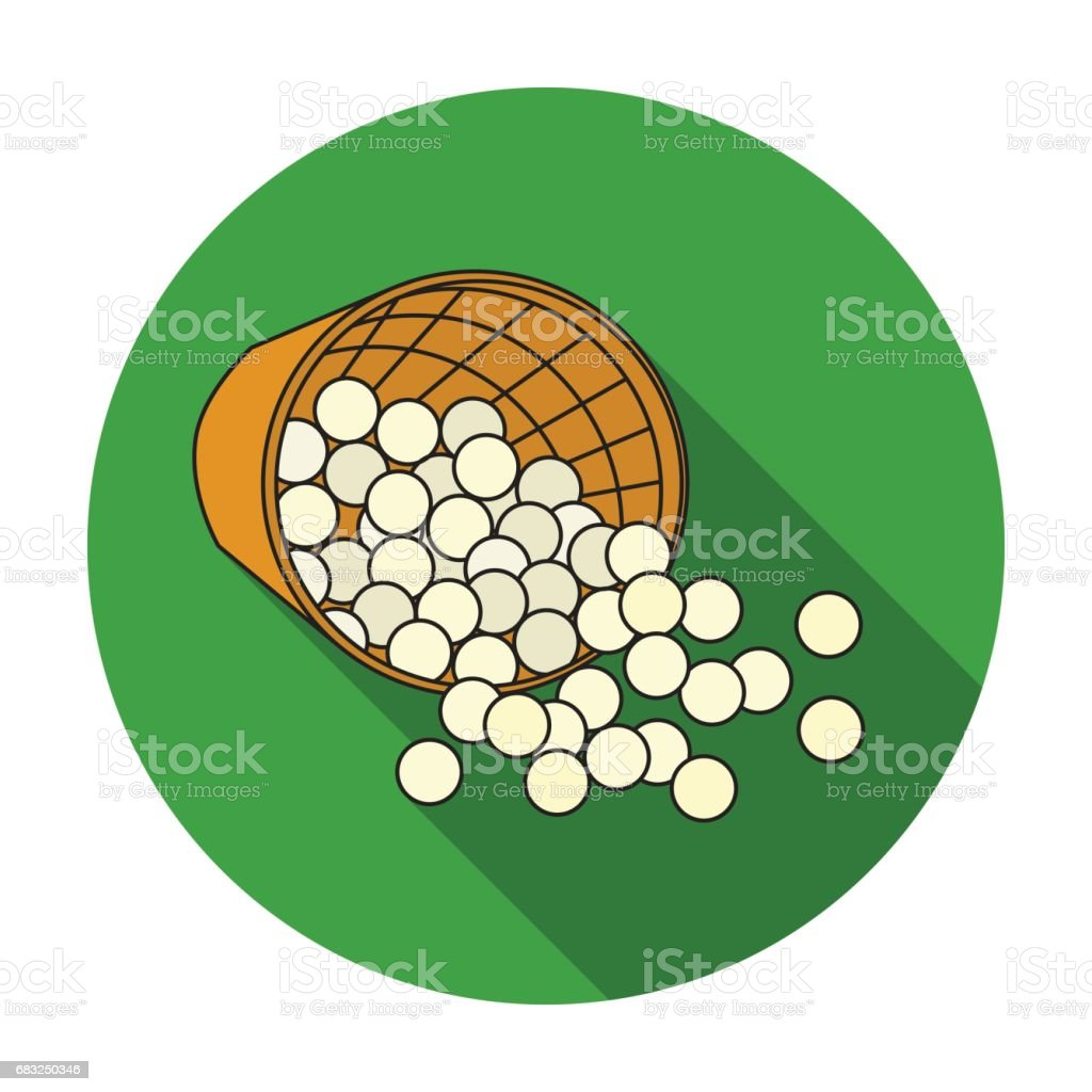 Basket with golf balls icon in flat style isolated on white background. Golf club symbol stock vector illustration. basket with golf balls icon in flat style isolated on white background golf club symbol stock vector illustration - arte vetorial de stock e mais imagens de arte royalty-free