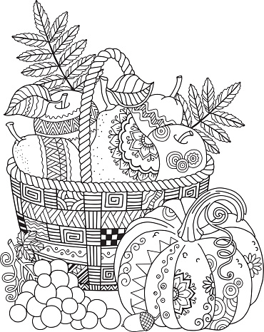 Basket with harvest fruits, pumpkin and grape. Thanksgiving Day. Autumn harvest