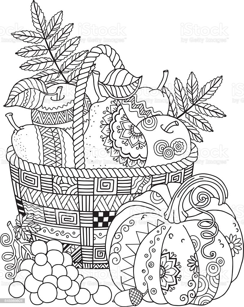 Basket with harvest fruits, pumpkin and grape. Thanksgiving Day. Autumn harvest vector art illustration