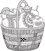 Basket with harvest fruits. Thanksgiving Day. Autumn harvest. Coloring book for adult meditetion and relax.