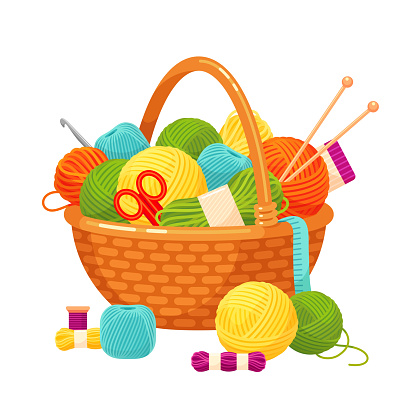 Basket with knitting balls, bright decorative home hobby