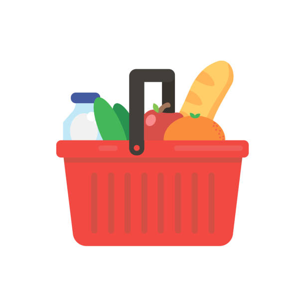 Basket with products. Vector Basket with products. Vector shopping basket stock illustrations