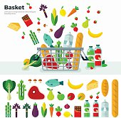 Concept of healthy food Basket with vegetables, cheese, juices, berries Icon set flat design of vegetables. For web site, mobile applications, banners, corporate brochures, book covers, layouts etc.