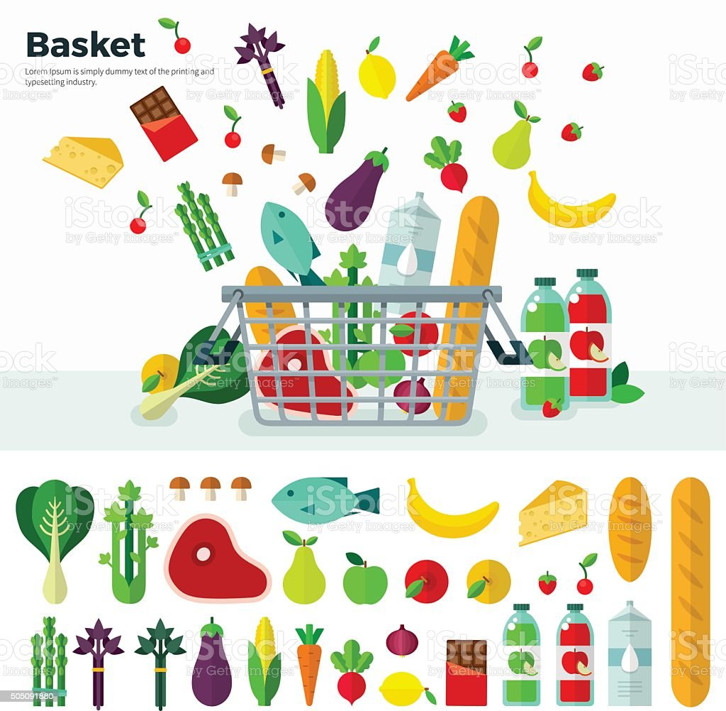 Basket with Vegetables Banner and Icon Set vector art illustration