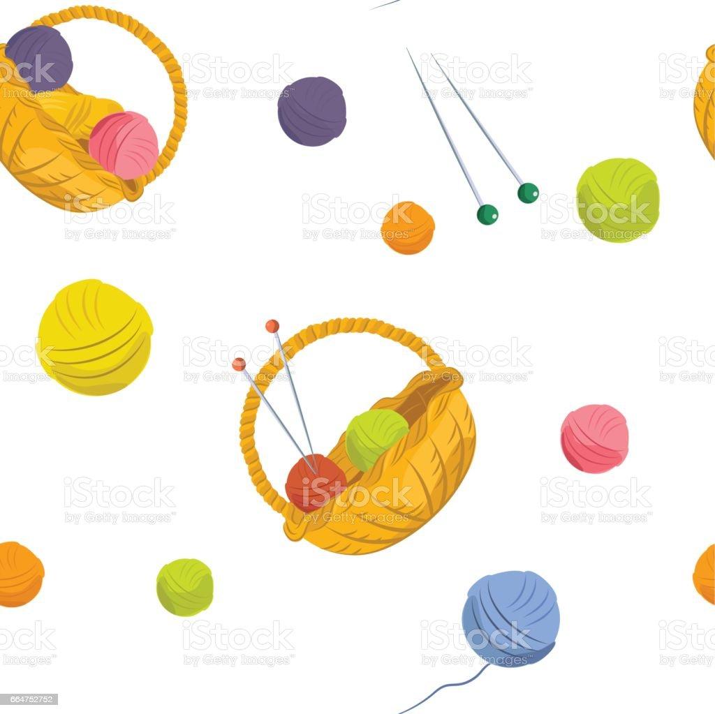 Basket with yarn for knitting vector art illustration