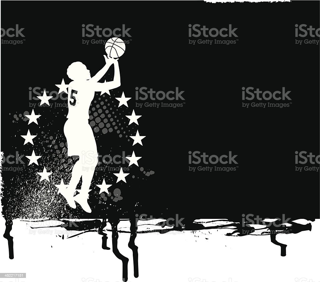 Basketball All-Star Background - Girls vector art illustration