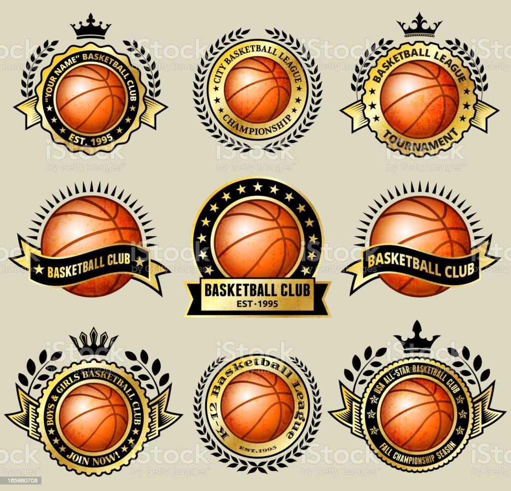 Basketball Club de aficionados de Grunge conjunto de medallas de oro - ilustración de arte vectorial