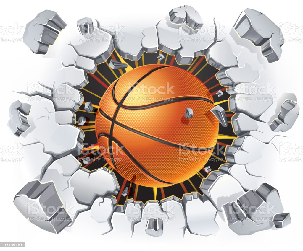 Basketball and Old Plaster wall damage. royalty-free stock vector art