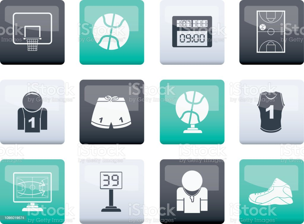 Basketball and sport icons over color background vector art illustration