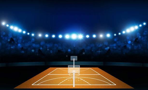 籃球競技場領域與明亮的體育場燈設計。向量照明向量藝術插圖