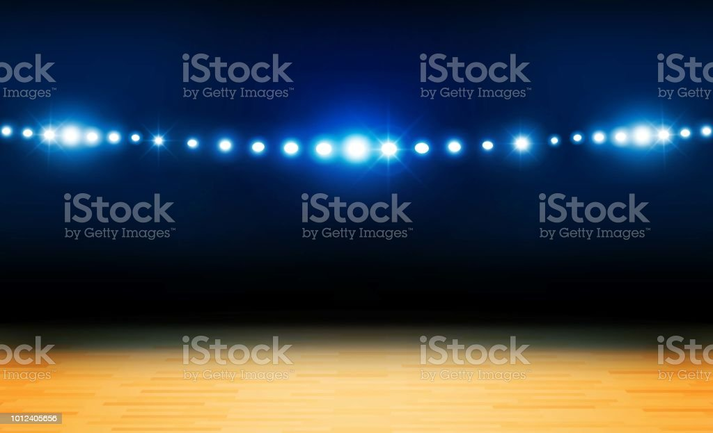 Basketball arena field with bright stadium lights design. Vector illumination