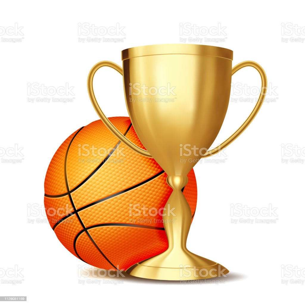 Basketball Game Award Vector. Basketball Ball, Golden Cup. Modern...