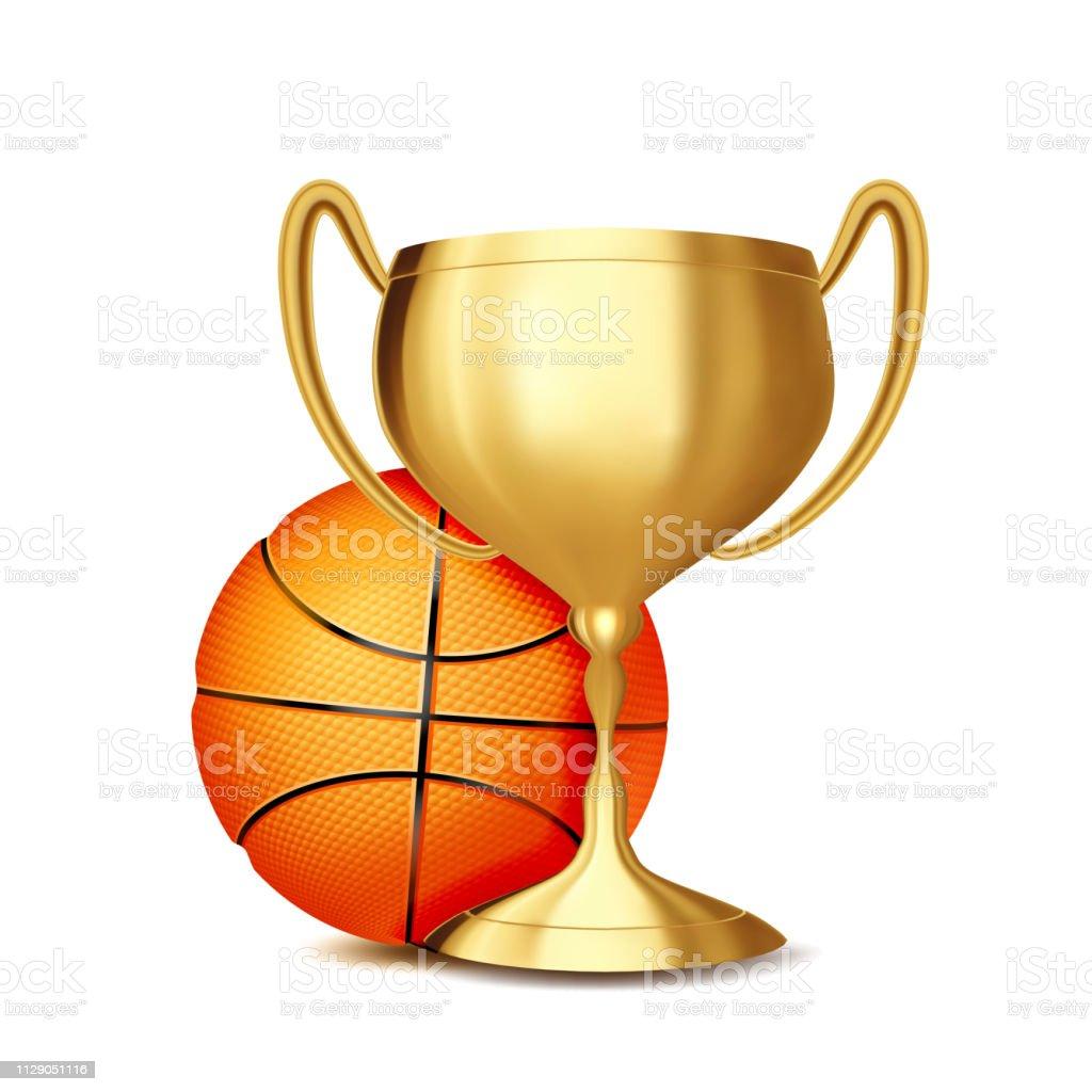 Basketball Award Vector. Basketball Ball, Golden Cup. Banner...