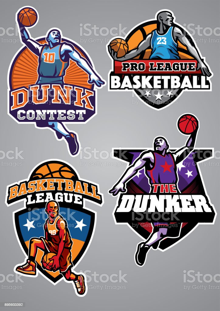 basketball badge design collection vector art illustration