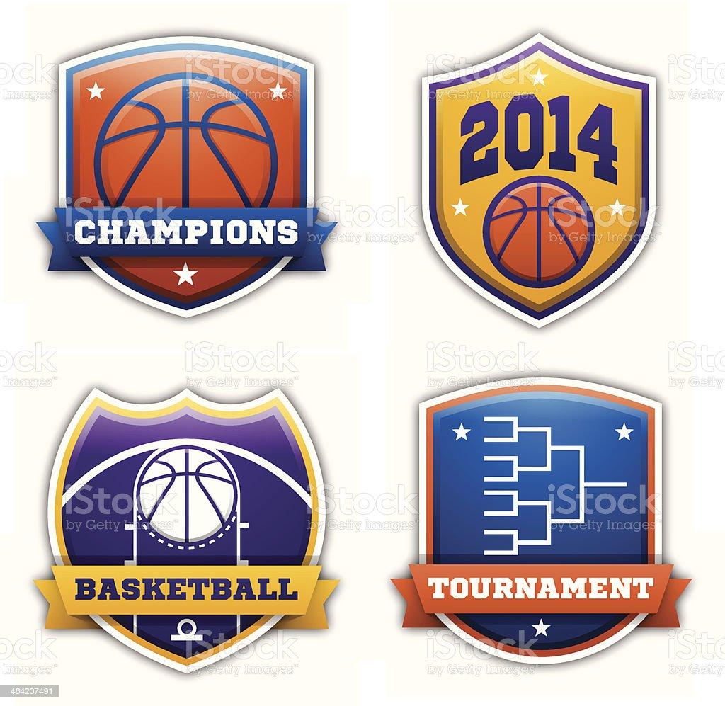 Basketball Badges vector art illustration