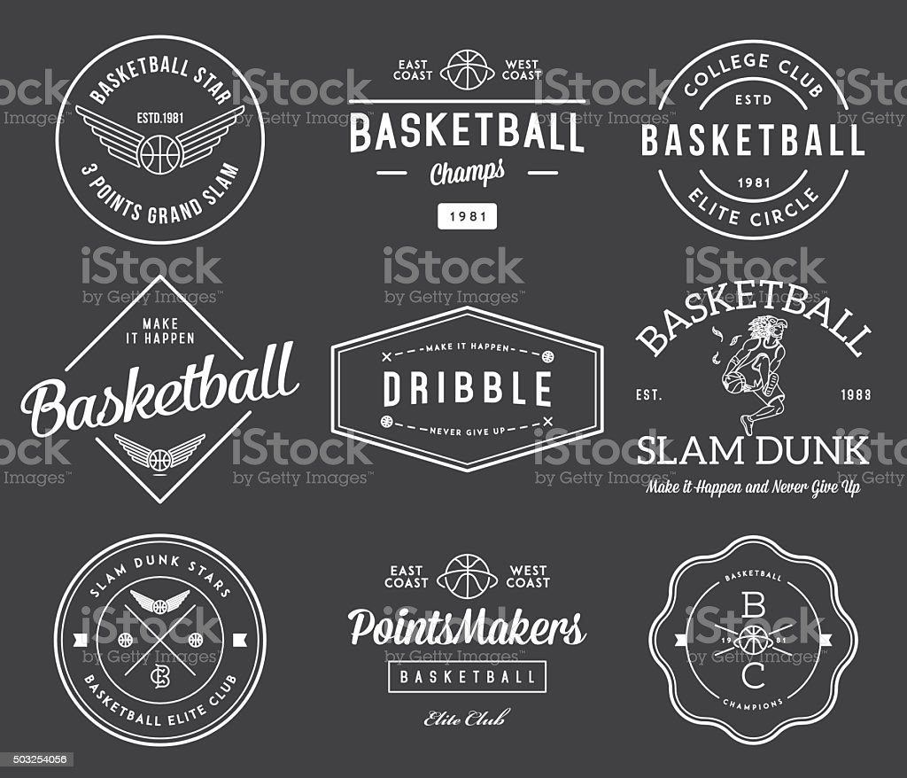 basketball badges white on black vector art illustration