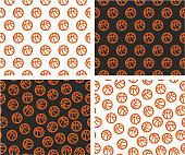Basketball Ball Aligned & Random Seamless Pattern Color Set