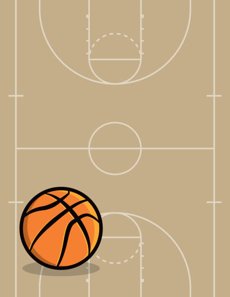 Basketball Ball and Court Background Illustration vector art illustration