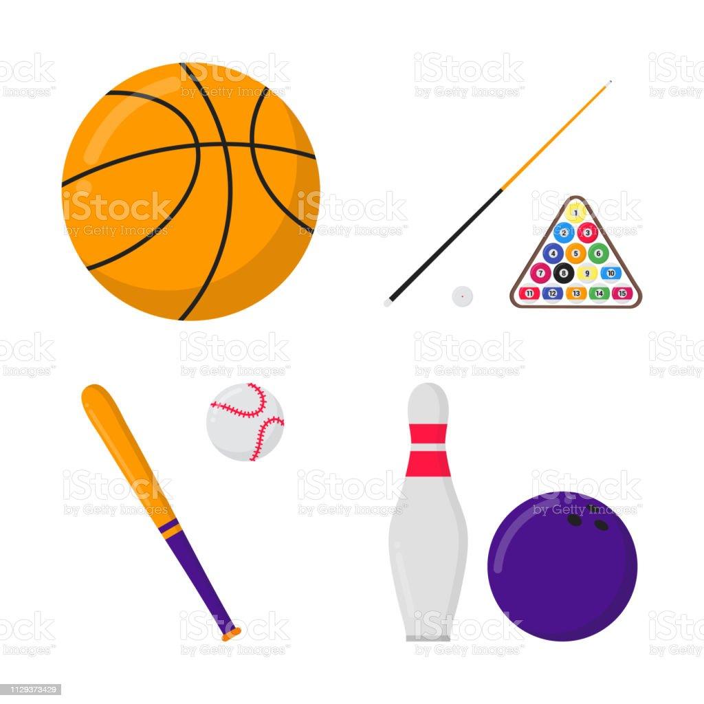 Basketball ball, billiards balls and cue, baseball bat and ball,...