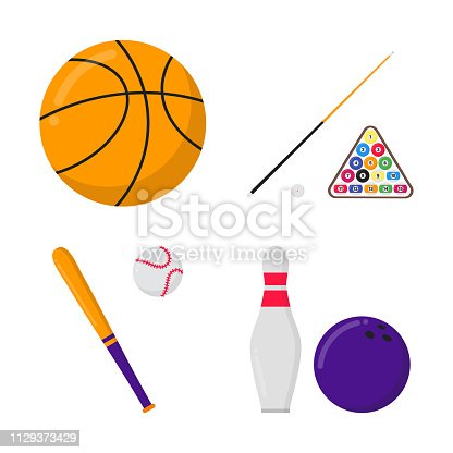 Basketball ball, billiards balls and cue, baseball bat and ball, bowling ball and skittle sport set flat style design vector illustration icon signs isolated on white background.