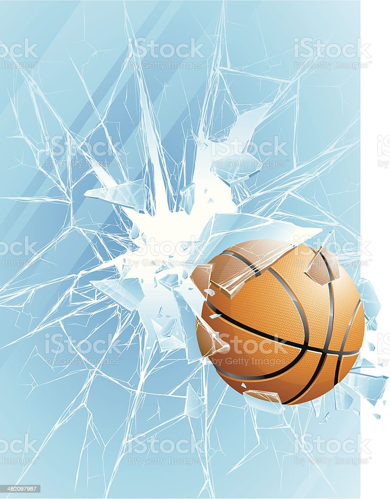 Basketball ball & broken glass royalty-free stock vector art