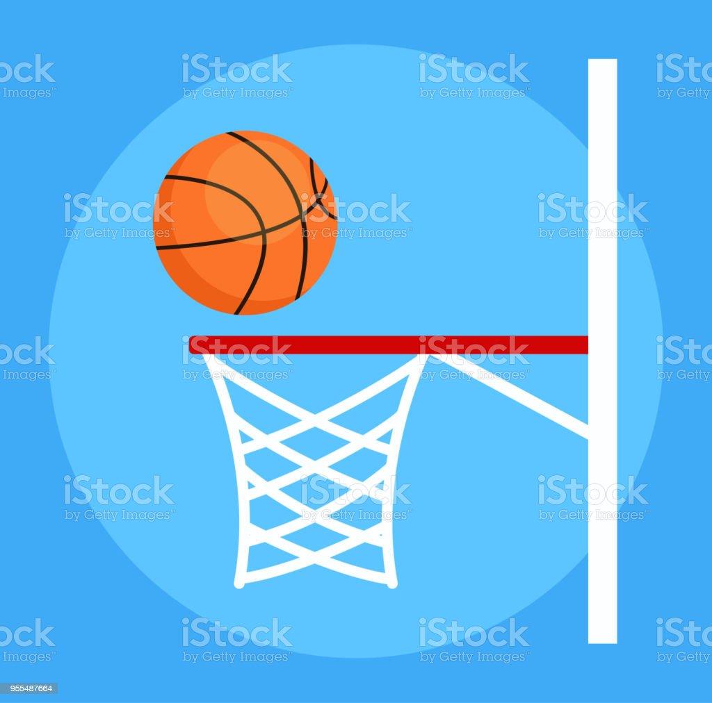 Ballon De Basket Tombe Dans Le Panier Net Jeu De Sport Dessin