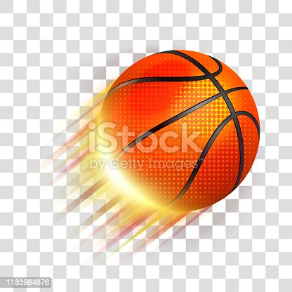 istock Basketball ball flying 1183984876