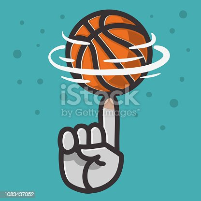 Basketball Ball Hand Spinning Finger Balance Illustration Vector Graphic.