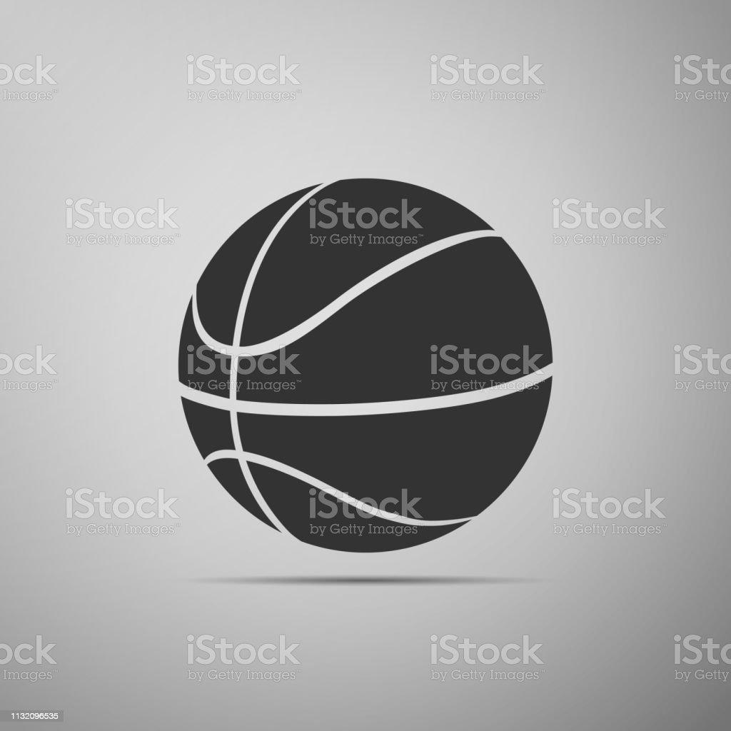 Basketball ball icon isolated on grey background. Sport symbol. Flat...