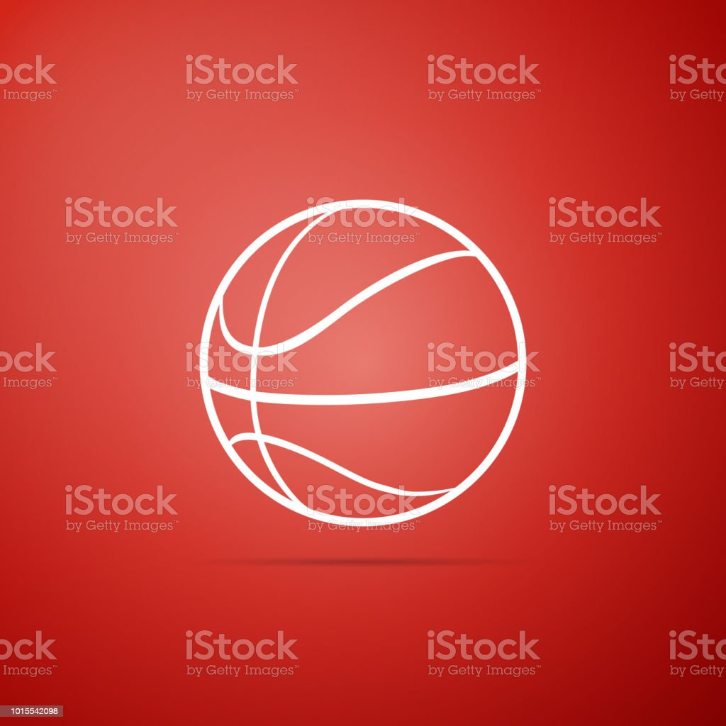 Basketball ball icon isolated on red background. Sport symbol. Flat...
