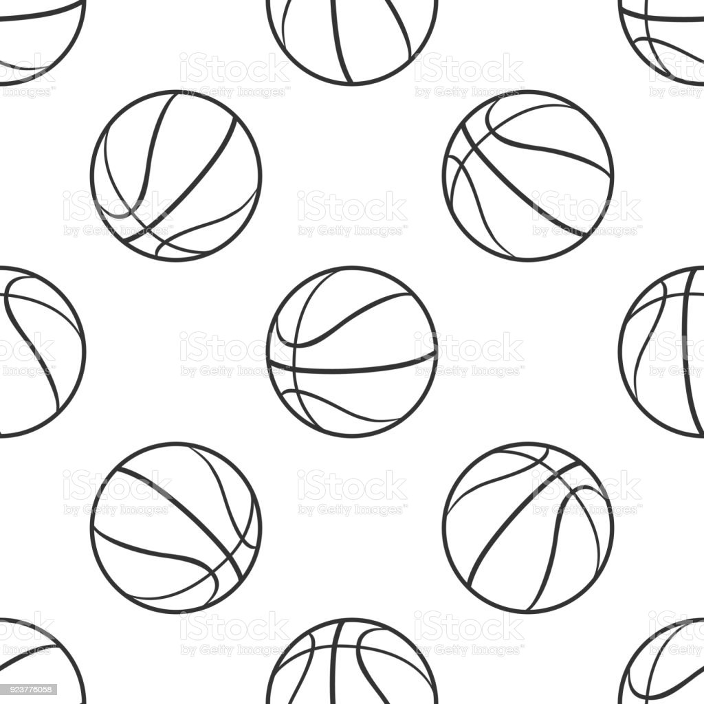 Basketball ball icon seamless pattern on white background. Sport...