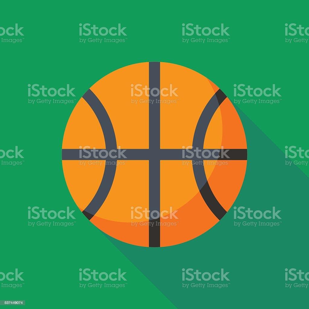 Pelota de baloncesto con una sombra larga icono - ilustración de arte vectorial