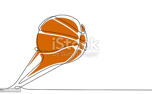 istock basketball ball in one continuous line. Team sports, active lifestyle. Background for sports competitions. Vector 1303865649