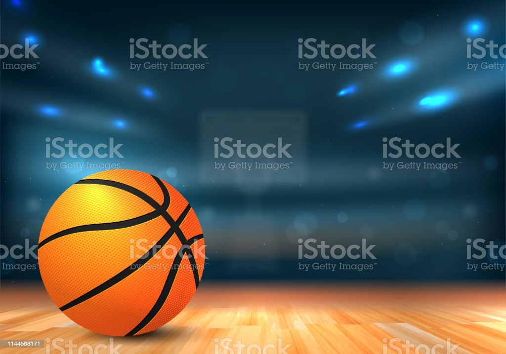 Basketball ball on wooden floor and sport arena with tribunes and...