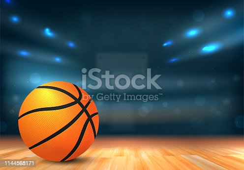 Basketball ball on wooden floor and sport arena with tribunes and lights in blurred background - vector illustration