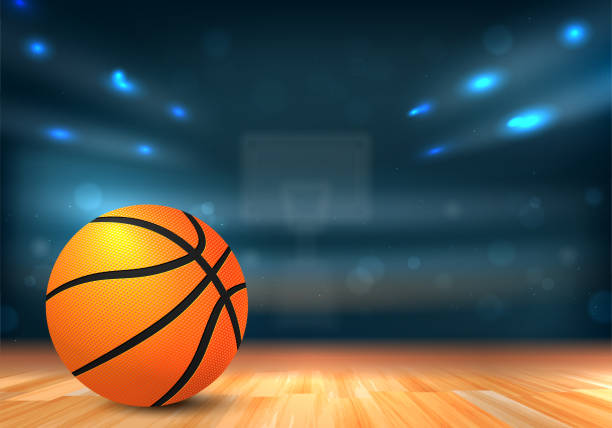 Basketball ball in sport arena with tribunes and lights Basketball ball on wooden floor and sport arena with tribunes and lights in blurred background - vector illustration basketball stock illustrations