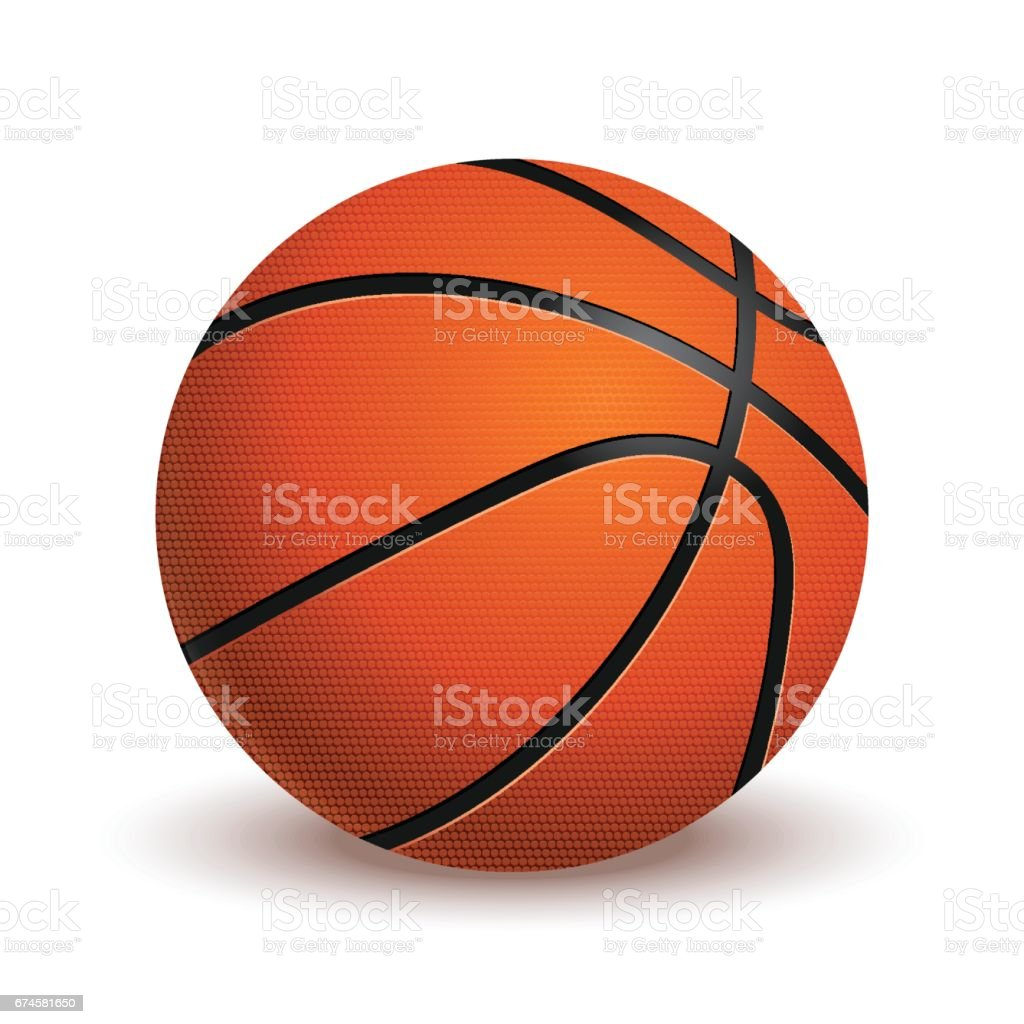 Ballon de basket isolé sur fond blanc. Réaliste vector Illustration. - Illustration vectorielle