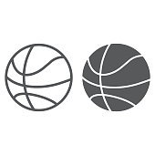 Basketball ball line and glyph icon, game and sport, ball sign, vector graphics, a linear pattern on a white background, eps 10.