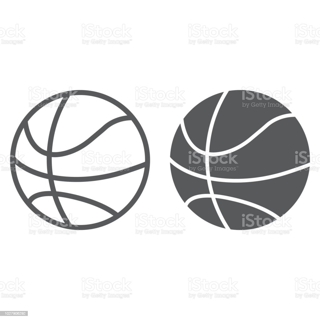 Basketball ball line and glyph icon, game and sport, ball sign, vector graphics, a linear pattern on a white background, eps 10. vector art illustration