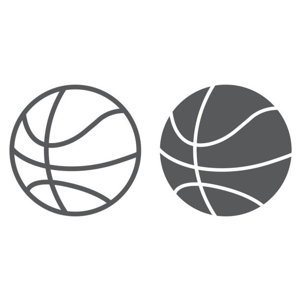 Basketball ball line and glyph icon, game and sport, ball sign, vector graphics, a linear pattern on a white background, eps 10. Basketball ball line and glyph icon, game and sport, ball sign, vector graphics, a linear pattern on a white background, eps 10. basketball stock illustrations