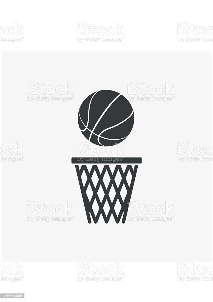 Basketball ball net Icon flat style isolated on grey background. vector art illustration