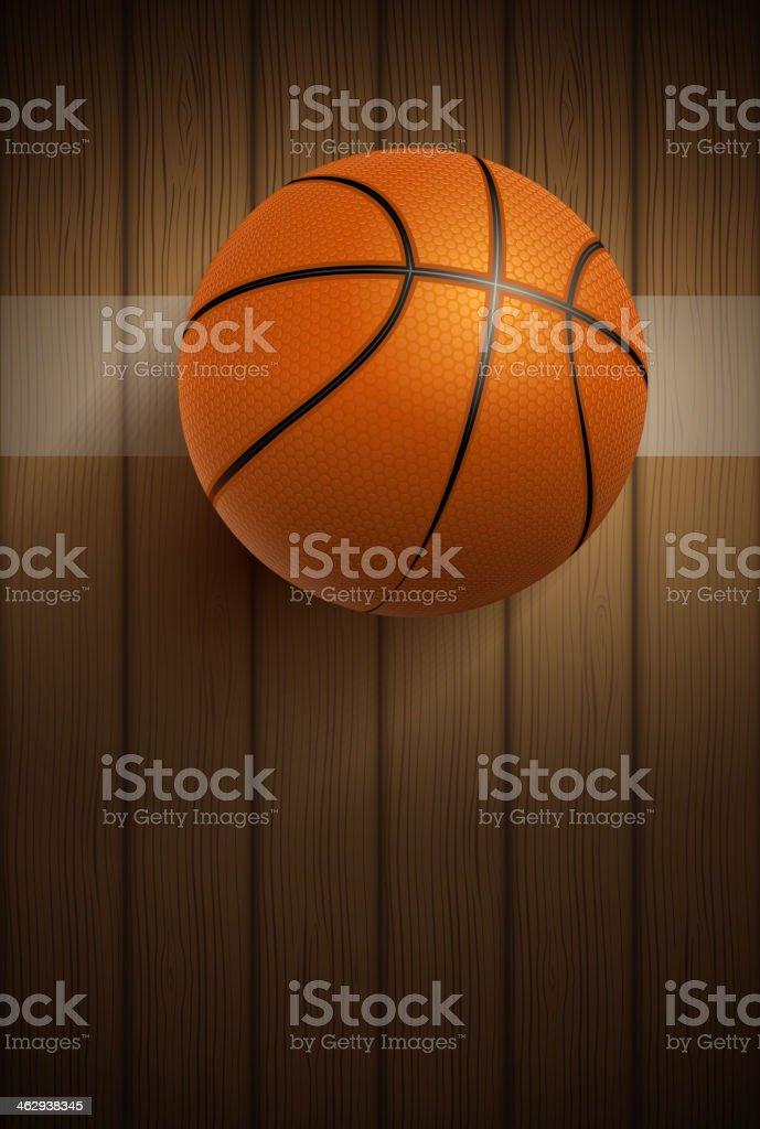 Pelota de baloncesto en el piso - ilustración de arte vectorial
