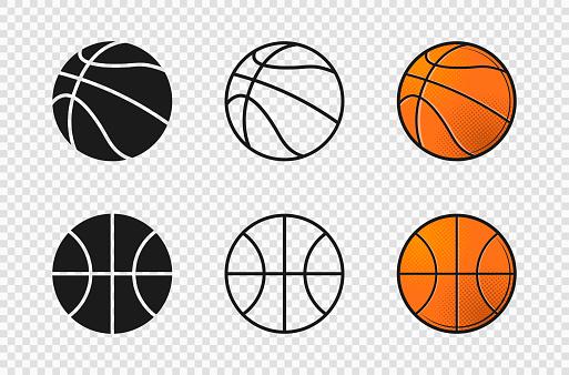 Basketball ball set icons. Orange color, silhouette, outline ball shape.
