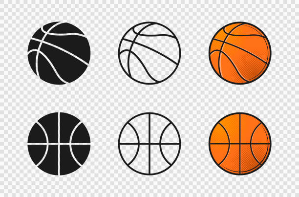 Basketball ball set icons. Orange color, silhouette, outline ball shape. Basketball ball set icons. Orange color, silhouette, outline ball shape. Vector illustration basketball stock illustrations