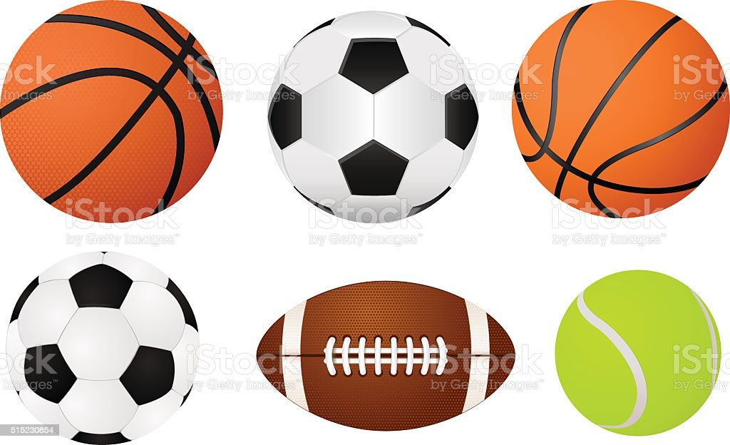 Basketball ball, soccer ball, tennis ball and american football ball vector art illustration