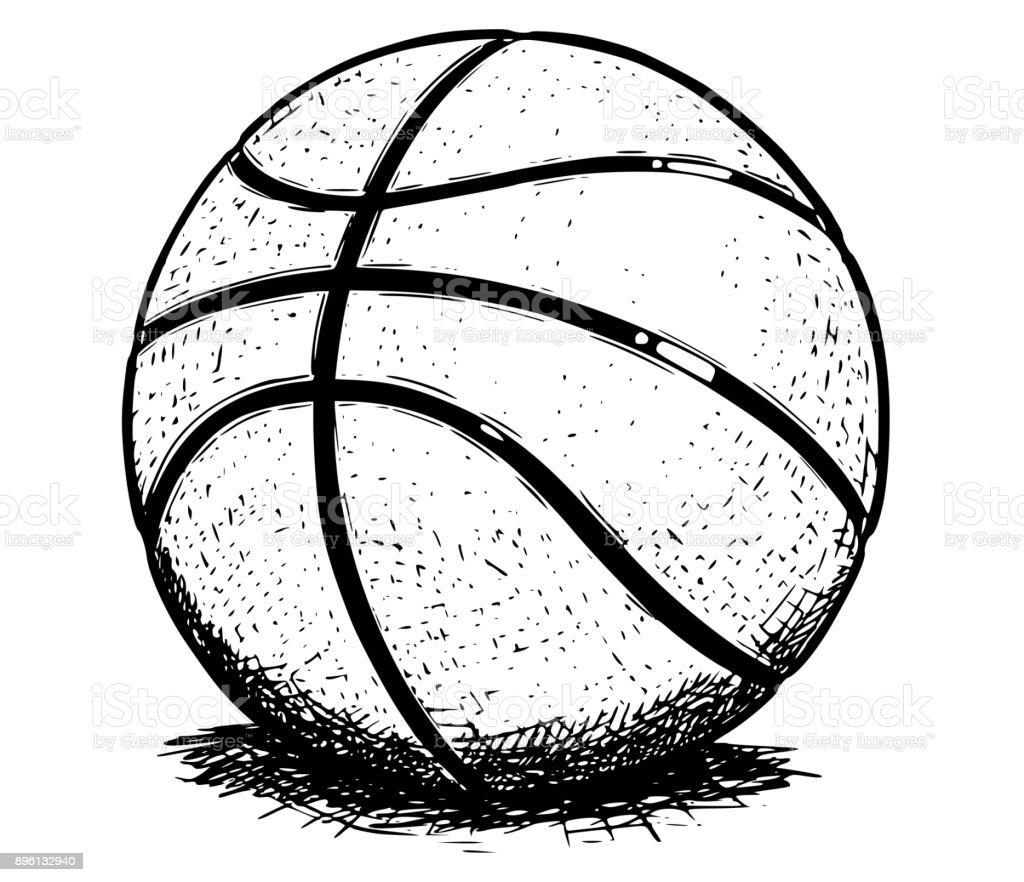 basketball ball vector hand drawing illustration stock