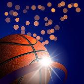 Basketball ball with flash glow light on dark bokeh background. Vector illustration.